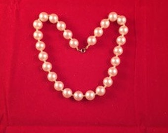 Large Faux Pearl Necklace with Golden Beads - #7-N
