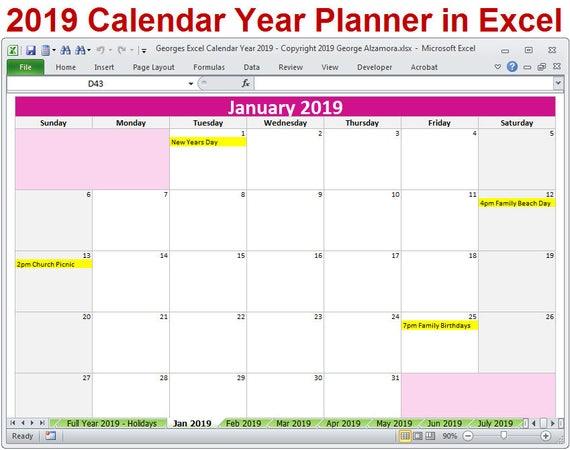 plantilla calendario 2018 excel