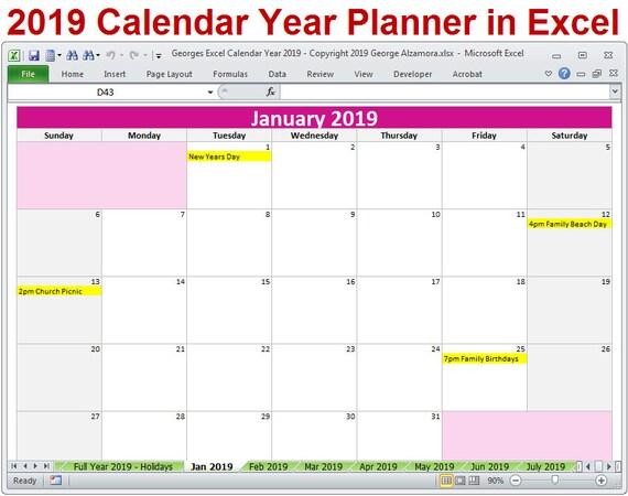 2019 Kalender Jahresplaner Excel-Vorlage 2019 monatliche