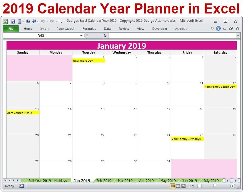Plantilla de Excel del 2019 año calendario planificador 2019