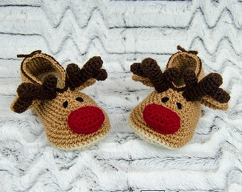 Reindeer Booties - PDF Crochet Pattern - Child sizes ( US 10-11, 12-13, 1-2 ) - Shoes Child Slippers