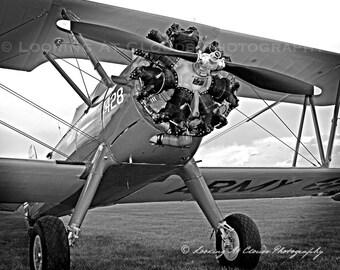 biplane, Stearman, vintage airplane art, aviation photography,  pilot gift,  propeller, round engine, boys room