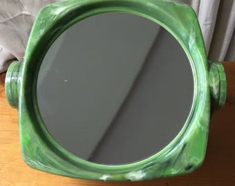 Retro green shaving mirror, magnifying mirror, double sided plastic beauty mirror, make up mirror,