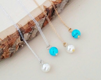 Turquoise or Faux Pearl Dainty Gold or Silver Necklace. Gift. bridesmaid. mothers day. Minimalist. Length options