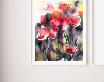 Red Poppies abstract fine art print, abstract flowers red green watercolor painting art, floral botanical modern abstract wall art print