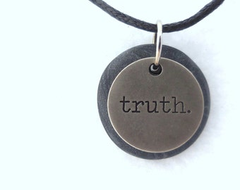 Truth Necklace, Word Pendant, Polymer Clay Inspirational Jewelry