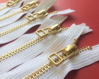 YKK metal zippers with Gold (Brass) finish and DHR wire style pull-closed bottom- (5) pieces - White Color 501- 9, 12, or 18 inches