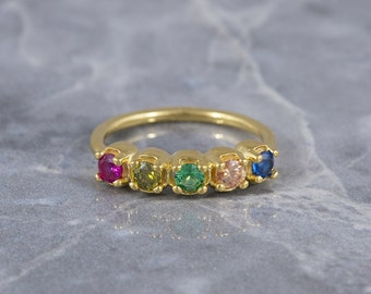 Personalized Ring, Mothers Ring, Mothers Day Ring, Birthstone Ring, Mothers Day Jewelry, Custom Birthstone Ring, Ring With 5 Birthstones
