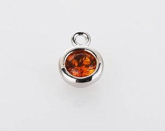 3mm CZ- Topaz November Birthstone Charm, 3mm CZ  Birthstone Necklace, Personalized Jewelry, Polished Rhoidum-plated -1pc [P0368-PRTP]