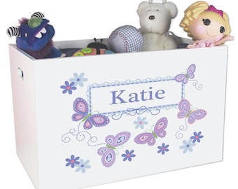 Personalized Open Toy Box with Lavender Butterflies Design YBIN-300b