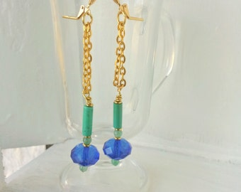 Turquoise and Aventurine Earrings with Gold Chain and Blue Beads, Long and Modern Earrings, Lightweight, Leverback Style