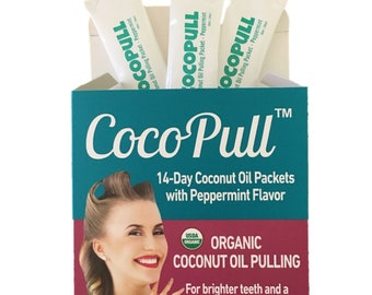Coconut Oil Pulling Mouthwash for Teeth Whitening, Bad Breath Remedy with Peppermint Oil - Healthy Natural Oral Detox