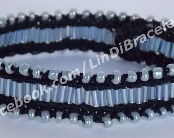 Blue Black Handmade Crochet Bracelet with Beads, Beaded Bracelet, Crochet Jewelry, Perfect Gift For Her, Handmade Cuff Bracelet