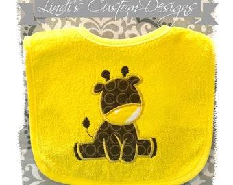 Neutral Baby Bib, Giraffe Embroidered Baby Bib, Baby Shower Gift, Gender Neutral Baby Gift, Safari Giraffe Baby Gift, Embroidered Baby Gift