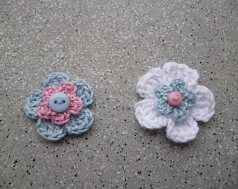 2 pretty hand made crochet cotton flowers