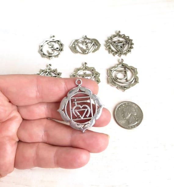 Silver Chakra Pendant, Chakra Charm For Mala Beads, Mala Necklace Pendant, Customize Your Mala, Yoga Jewelry, Root Chakra, Heart Chakra