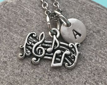 Music notes necklace, music notes charm,  music necklace, personalized necklace, initial necklace, initial charm, monogram