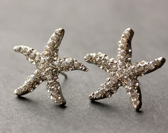 Rhinestone Starfish Earrings. Silver Starfish Earrings. Post Earrings. Star Fish Earrings. Silver Earrings. Stud Earrings. Handmade Jewelry.