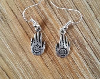 Silver Plated Hamsa Hand Earrings, Hamesh Hand, Chamsa Hand, Khamsa Hand, Hand of Miriam, Yoga