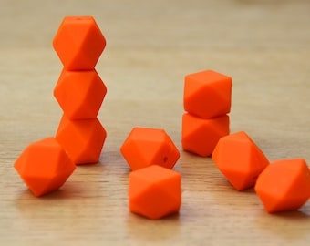 Silicone Beads/ORANGE 19mm Geometric Silicone beads, 10 pack