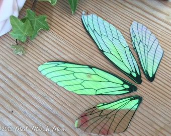 Fairy wing set, Medium size plain iridescent wings with upper and lower pairs Cicada Style for crafting, diy fairy wings, doll wings.