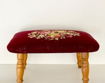 Vintage Needlepoint Bench Footstool | Vintage Wood Stool With Needle Point  Seat | Shabby Chic |