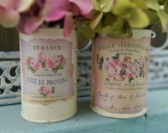 2 Shabby Chic French Country Ivory Tin Cans Handpainted Decoupage Pastel Labels Table Centerpiece Home Dorm Decor Gift Sweet Vintage Designs