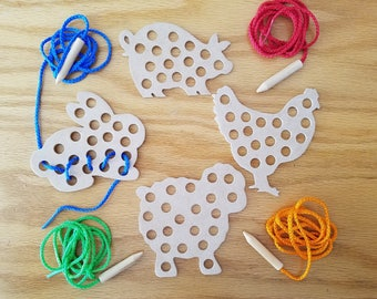 Wooden Farm Animals Lacing Toy