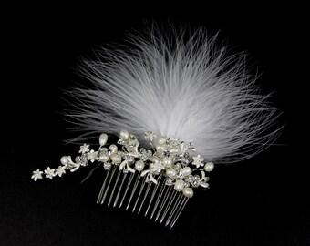 Genuine Pearl Bridal Hair Comb, Feather Bridal Comb, Rhinestone Bridal Comb,Bridal Fascinator,Bridal Hair Comb,Feather Fascinator, Wedding