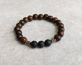 Mens Bracelet - Lava Stone & Palmwood - Meditation - Energy Bracelet - Mala Bracelet - Masculine Bracelet - Gifts For Him - Item #376