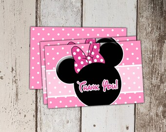 Minnie Mouse Thank You Cards - Pink - Instant Download