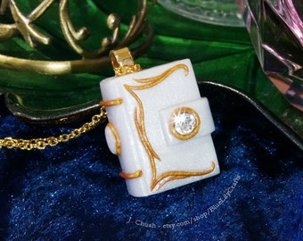 Polymer Clay Pendant Small Pearl White Miniature Book Storybook Diary Journal Jewellery with Gold Accents and a Clear Crystal