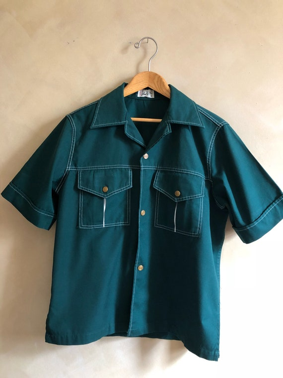 Vintage 70's John Weitz Shirt / Green Snap Front