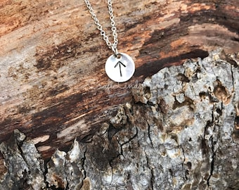 Viking Hand Stamped sterling silver rune dainty necklace, pendant, runic, nordic, norse, viking, ancient, Elder Futhark, you choose rune