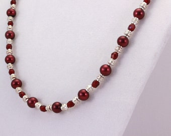 Burgundy and Silver Necklace