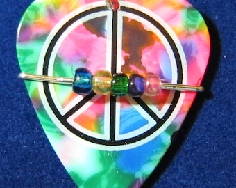 Tie Dyed Peace Sign Guitar Pick Pendant