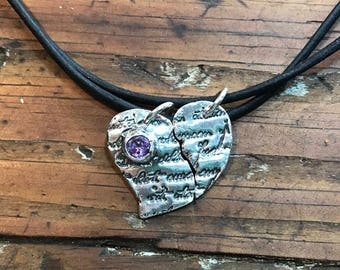 Couple's Promise Leather Necklaces-Heart/Wing-Fine Silver PMC-February Birthstone Amethyst CZ-Valentine/Birthday (2293N)