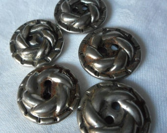 Set of 5 VINTAGE Silver Metal Sew Thru BUTTONS