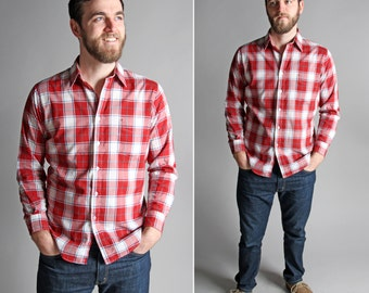 Vintage Men's Plaid Oxford- Button Up Woven Long Sleeve Rodeo Cowboy Red White Country Rockabilly Western - Size Medium M