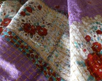 Vintage Oversize Floral Purple Teal Red Gold Scarf