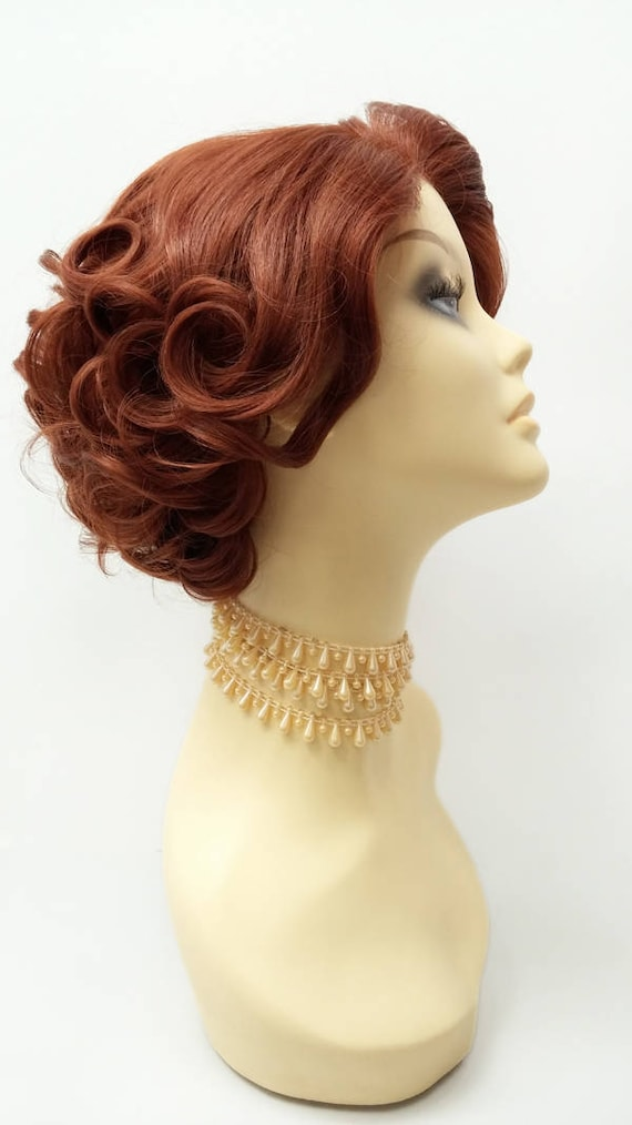 Lace Front Short Bright Auburn Retro Curly Wig Doris Day - Free professional invoice template online wig store