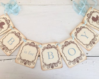 Baby Boy Banner B is for Boy Banner Garland Baby Shower Decoration Vintage Carriage Photo Prop