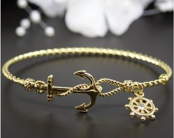 Very Cute Gold Nautical Anchor Bangle Bracelet,Gold-Tone Bangle Bracelet, Birthday Gift, Thank you Gift, Bridesmaid Gift | #G009