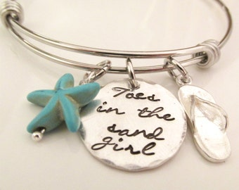 Toes in the Sand -  hand stamped bracelet  - Beach Jewelry - starfish bracelet - beach charm bracelet