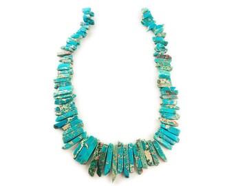 Turquoise Imperial Jasper Graduated Sticks Gemstone Beads