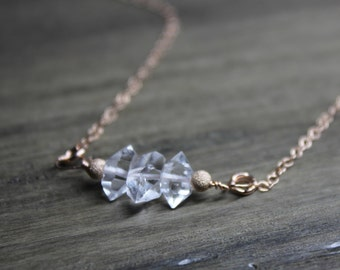 herkimer diamond necklace, herkimer diamond rose gold necklace, gold filled herkimer diamond necklace, herkimer diamond jewelry, herkimer