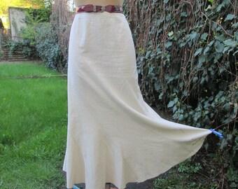 Long Linen Skirt / Skirt Vintage / Maxi / Cream Linen Skirt/ Ivory / SizeEUR 44 / 46 UK16 / 18