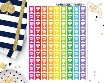 90 Mini Workout Flag Planner Stickers! HF144