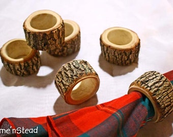 Rustic Napkin Rings (6 pcs) Holders Reception Dinner Decor Log Home Kitchen Party Favor Holiday Table
