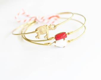 Girl's University of Alabama Jewelry, Girl's Alabama Bangle Set, Elephant Bangle, Roll Tide Stackable Bangles, Red and White Bangles